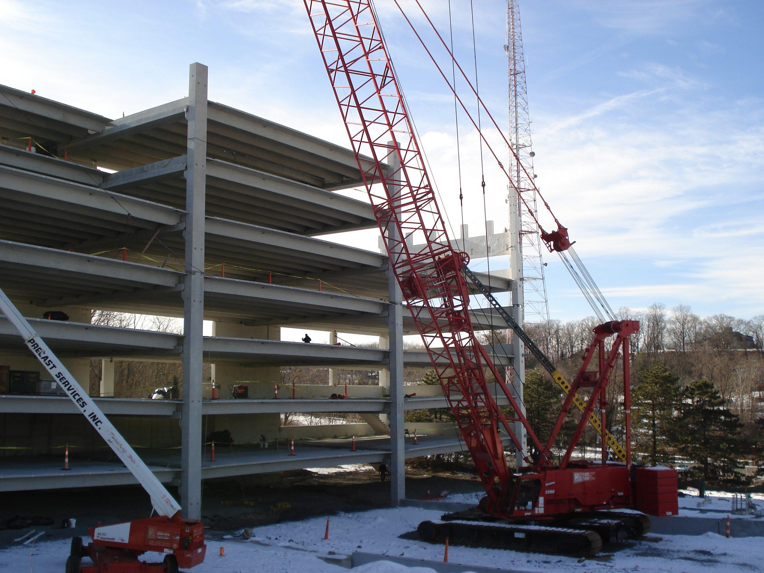 Montclair State University parking garage under construction