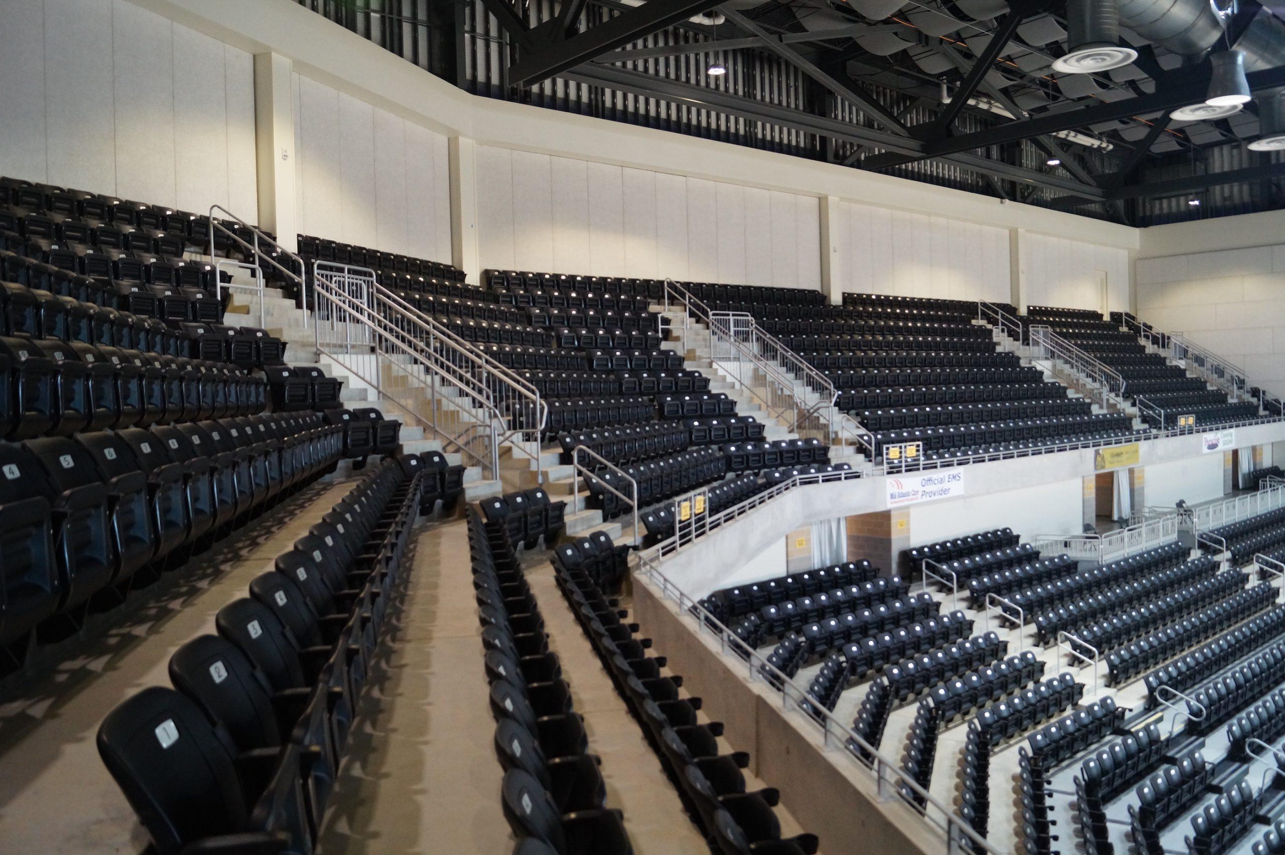 Stadium risers and seats at UMBC's basketball stadium