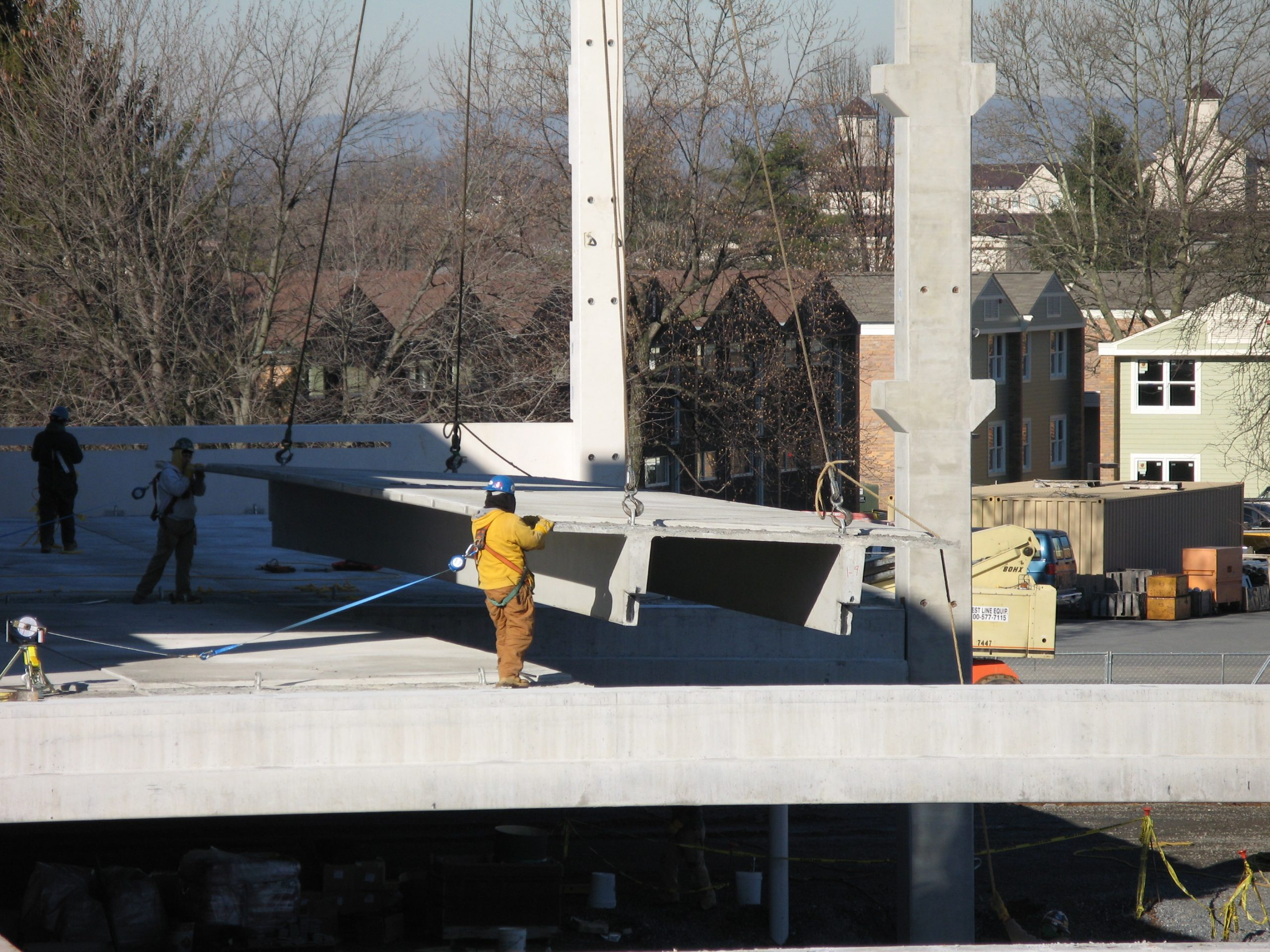 Double Tees being placed while building parking garage