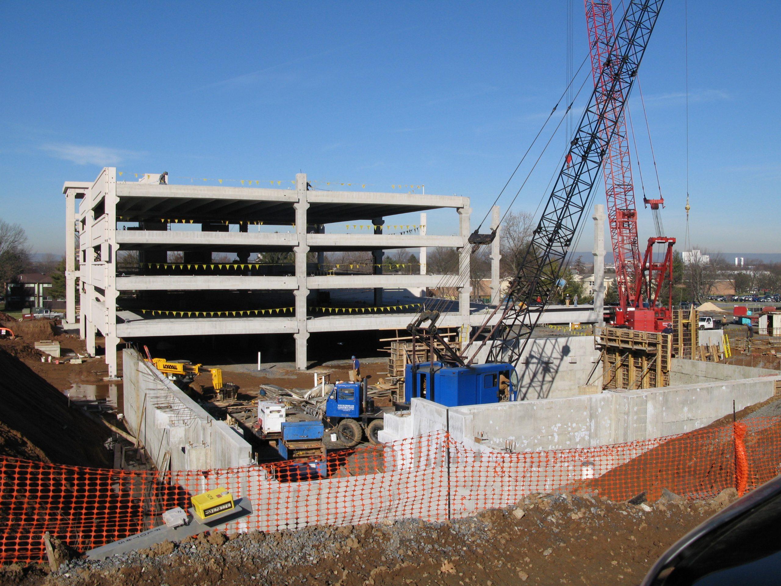 Hershey Medical Center Parking Garage during construction